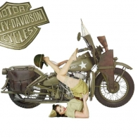 1942 Harley Davidson Wla With Pin Up Wallpaper
