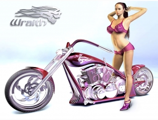 3d Wraith Chopper Concept And Biker Babe Wallpaper