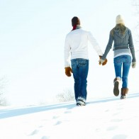 A Romantic Walk Through The Snow Wallpaper
