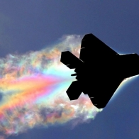 Aircraft With Rainbow Smoke