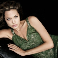 Angelina In Green Dress Wallpaper