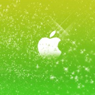 Apple Logo In Green Glitters Wallpapers