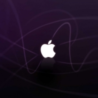 Apple Logo Purple Waves Wallpapers