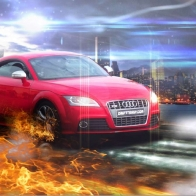 Audi Red In Fire Wallpaper