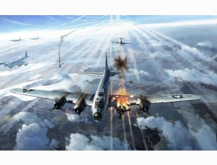 B 17 Bomber Squadron Painting Wallpaper