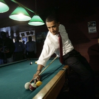 Barack Obama Playing Pool Wallpaper