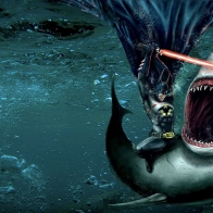 Batman Killing A Shark With Lightsaber