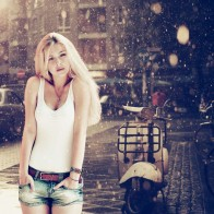 Beautiful Girl In Mumbai Rain Wallpaper