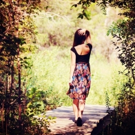 Beautiful Girl Walking On Wooden Bridge Wallpaper