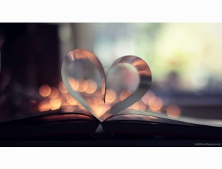 Book Page Heart Bokeh
