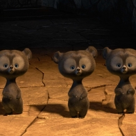 Brave Triplet Bear Cubs Wallpaper