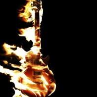 Burning Fire Flame Guitar