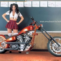 Custom Chopper With Hot School Babe Wallpaper