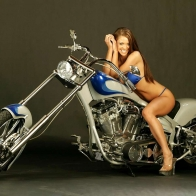 Custom Cruiser And Biker Babe Wallpaper