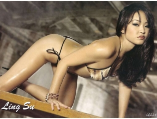 Cute Actress Pretty Bikini Ling Su Wallpaper