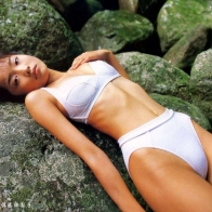 Cute Beautiful Actress Model White Bikini Eriko Sato Wallpaper Wallpapers