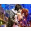 Download Couple Kissing In The Rain Drawing Hd Wallpaper