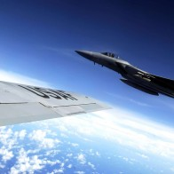 F 15 Eagle Flies Alongside A Kc 135 Stratotanker Wallpapers
