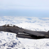 F 15e Strike Eagle Flys Over Glacial Fields Wallpapers