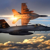 Fa 18 Super Hornets Of Strike Fighter Squadron 31 Wallpaper