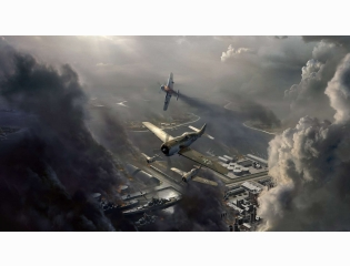 Fictional Focke Wulf Fw 190 Attack On A Harbor Wallpaper