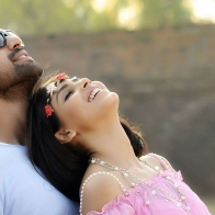 Genelia Dsouza And Rana Daggubati Looking Up Pose In Naa Ishtam
