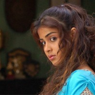 Genelia Dsouza Sad Side Face In Blue Dress