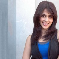 Genelia Dsouza Smiling In Black And Blue Top
