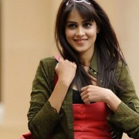 Genelia Dsouza Smiling In Red And Green Dress