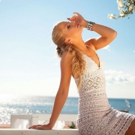 Girl Relaxing In Vacation Wallpaper
