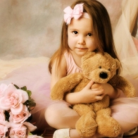 Girl Teddy Bear Roses