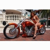 Gorgeous Babe Orange Chopper Wallpaper