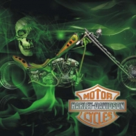 Harley Davidson Green Skull Wallpaper