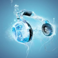 Headphones Water Music Wallpaper