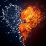 Heart Fire And Water Wallpapers
