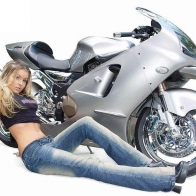 Hot Chick Bike Model Wallpaper 25