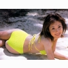 Hot Beautiful Cute Actress Yellow Bikini Reiko Azechi Wallpaper