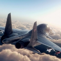 Jet Fighter Above The Clouds 01