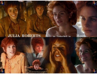 Julia Roberts And As Tinkerbell From Hook Wallpaper