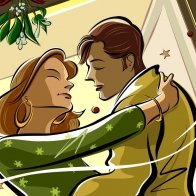 Kissing Under Mistletoe Wallpaper