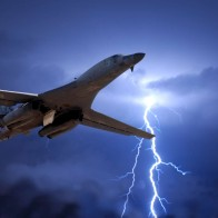 Lightning Strikes Behind B1 Wallpaper
