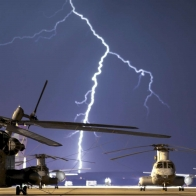 Lightning Strikes Near Airbase Wallpaper