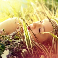 Lovely Babe Sleeping On Grass Hd Wallpapers