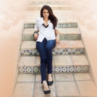Nina Dobrev On Old Stairs Wallpaper