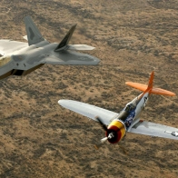 P 47 Thunderbolt And F 22 Raptor Wallpaper