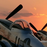 P 51 Sunset Wallpaper