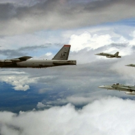 Raaf Fa 18 Hornets And Usaf B 52 Bomber Wallpaper