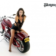 Red Dragon Custom Bike And Babe Wallpaper