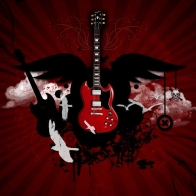 Red Guitar Wallpaper