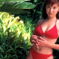 Sexy Actress Aki Kawamura In Red Bikini Japanese Wallpaper